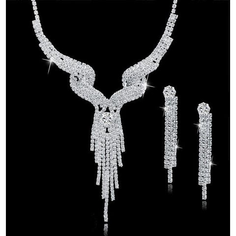 Crystal Bridal Long Tassel Statement Necklace/Earrings Set - Abco... Store
