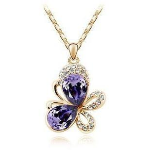 Rhinestone  Butterfly Crystal Pendants Necklace - Abco... Store