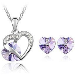 Crystal Heart pendants necklace earrings jewelry sets - Abco... Store