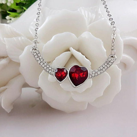 Double Crystal Heart Pendant Necklace - Abco... Store