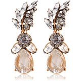 White Leaf Crystal Acrylic Earrings Irregular Geometric Figure Earrings - Abco... Store