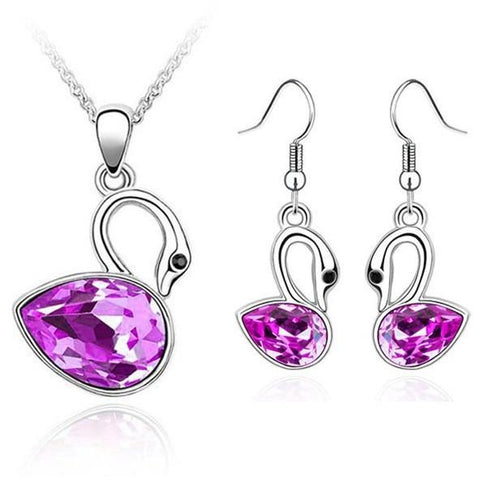 Crystal Swan Pendants Necklace Earrings Set - Abco... Store