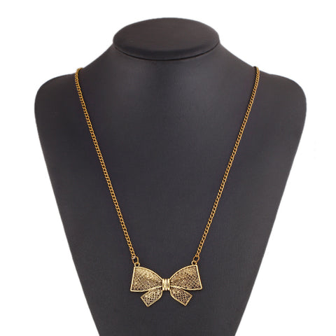 Vintage punk Metal Bow Pendant Flower long Chain Necklaces