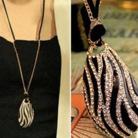 Black And White Zebra  Print  Drop Necklace (Long) - Abco... Store