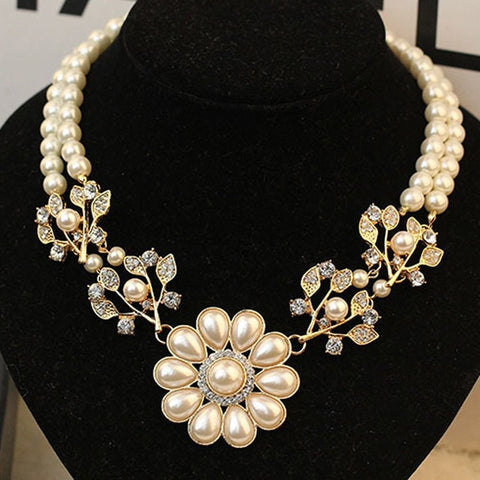 Pearl Rhinestone Flower Short Necklace Pendant Clavicle Chain White Sweater Chain gold - Abco... Store