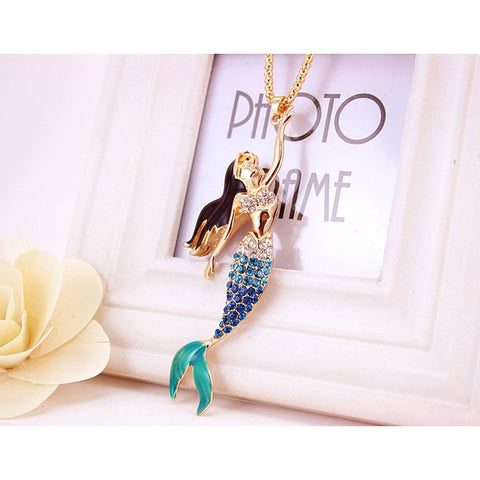 Mermaid Pendant Necklaces Long Necklace - Abco... Store