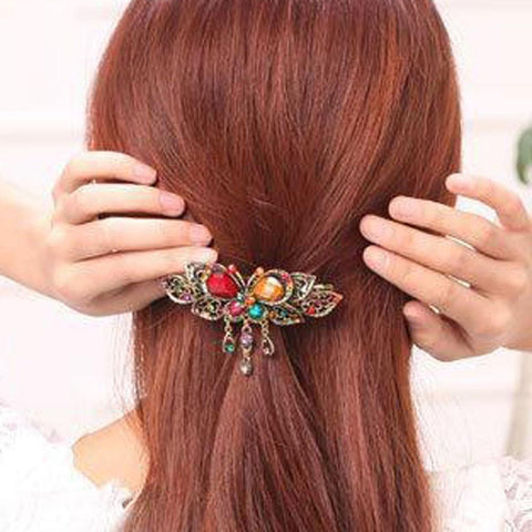 Colorful Retro Crystal Butterfly Flower Hairpins - Abco... Store