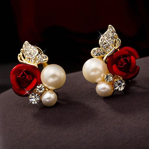 Red Rose Cubic Zirconia Faux Pearl Alloy Ear Stud Earrings - Abco... Store