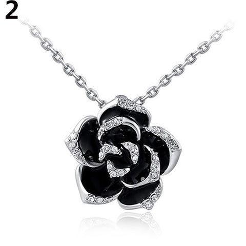 Rhinestone Rose Flower Pendant Necklace - Abco... Store