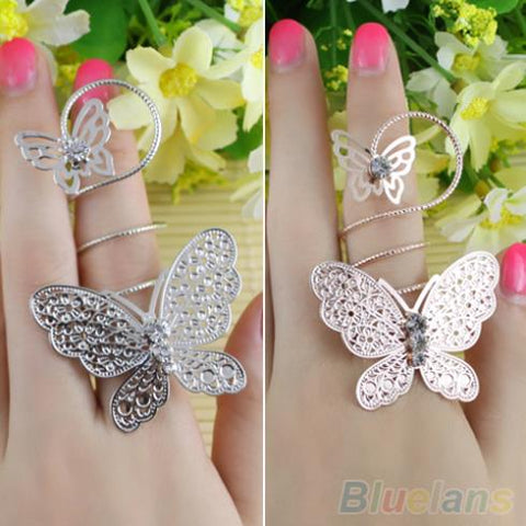 New Punk Charm Rhinestone Double Butterflies Shaped Spiral Finger Ring - Abco... Store