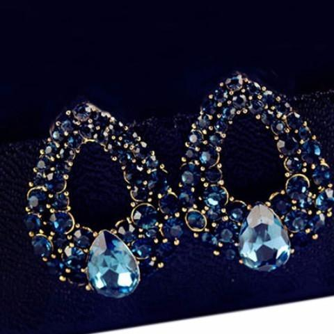 Blue Crystal Water drops Stud Earring - Abco... Store