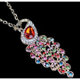 Multicolour Crystal  Peacock Long Chain Necklace - Abco... Store