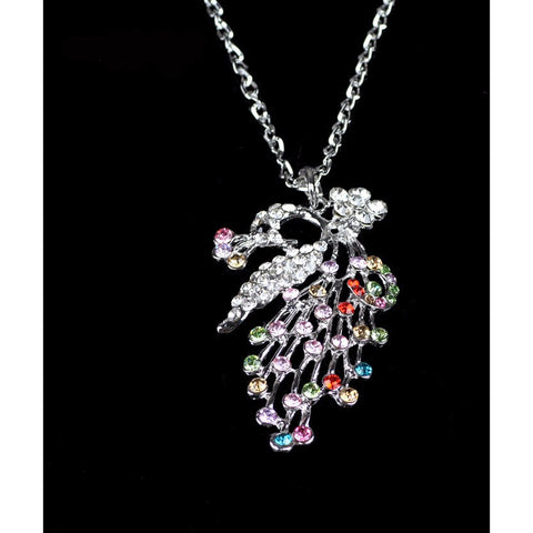 Silver  Crystal  Beautiful Peacock  Long Chain Necklace - Abco... Store