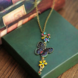 New Vintage Long Pendant Necklace Butterfly Colorful Flowers - Abco... Store