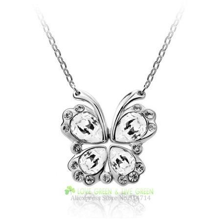 Crystal butterfly necklace jewelry - Abco... Store