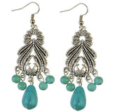 Leaves Blue Stone Drop Earrings - Abco... Store