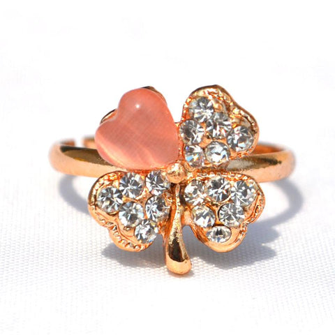 Crystal Clover Opal Rhinestone Rings for Lady Rose Gold Color - Abco... Store