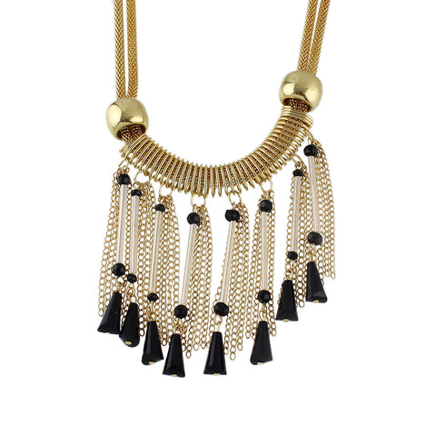 New Gold-Color Tassel Link Chain Black Beads Necklace - Abco... Store