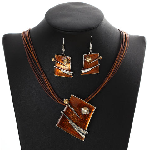Leather Chain Square Pendant Necklaces - Abco... Store