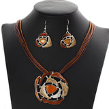 Leather Rope Chain Pendant Necklace Bridal Jewelry Sets