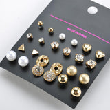 12 Pairs/Pack Alloy gold color Crystal Stud Earrings Set - Abco... Store