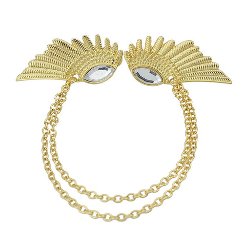 Light Gold-Color Rhinestone Angel Wing Necklace Design Tie Clips & Cufflinks - Abco... Store