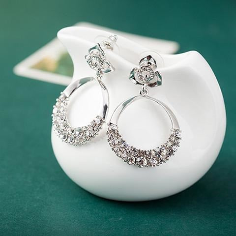 Rhinestone Round Drop Plating Silver Earrings brincos - Abco... Store