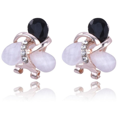 Stud Earrings Charm Golden Ear Clip Opal Crystal Rhinestone - Abco... Store