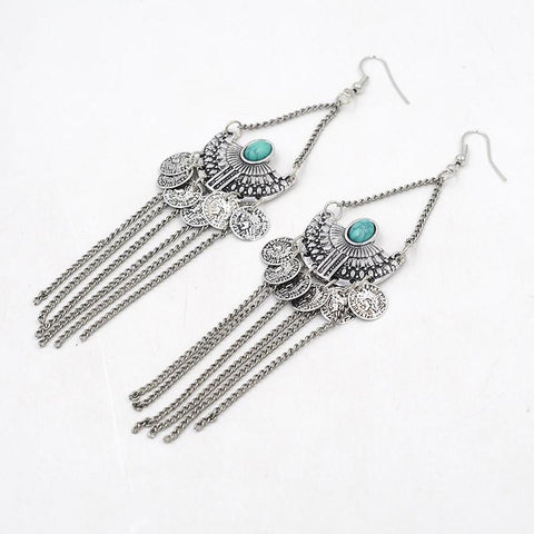Tassels Green Stone Golden & Silvery Earrings - Abco... Store