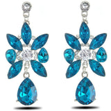 Blue Crystal Leaves Zircon Dangle Party Earrings - Abco... Store