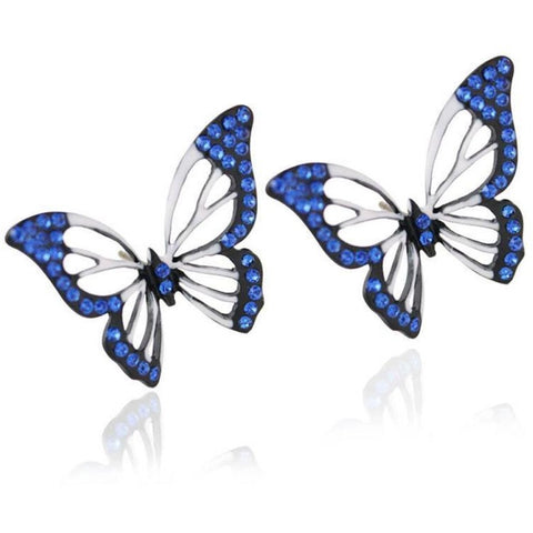 Elegant Crystal Butterfly Stud Earrings - Abco... Store