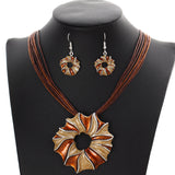 Leather Rope Chain Colorful Gem Flower Pendant necklace - Abco... Store
