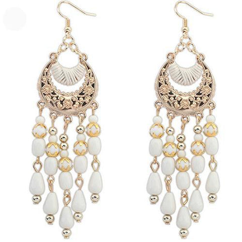 Crescent Moon Boho Style Ear Drops Dangles Tassel Earrings - Abco... Store