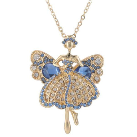 Long Pendant Angel Crystal Dancers Gold Color Necklace
