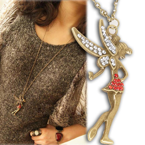 Vintage Peter Pan's Little Fairy Crystal Pendant Charm Necklaces