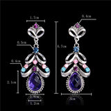 Purple Crystals Drop Earrings - Abco... Store