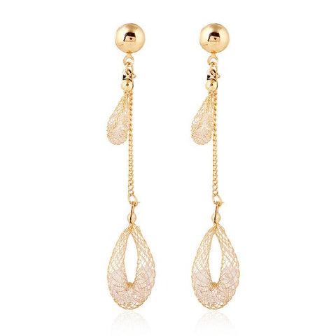 Crystal Hollow Out Drip Gold Color Droplets Earrings grandes Party Gift