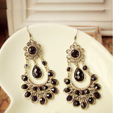 Retro Vintage Black Waterdrop Resin Pendant Antique Alloy Drop Earring - Abco... Store