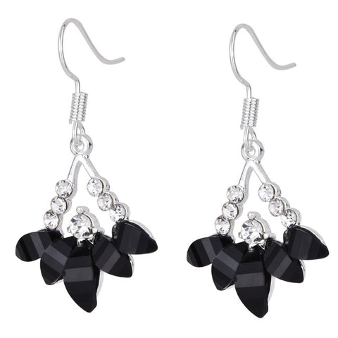 Crystal Sliver Plated Antique Daisy Four Petals Flower Earrings - Abco... Store
