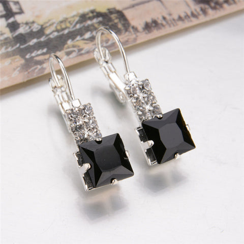 Geometric Square Crystal Charm Earrings - Abco... Store