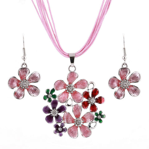 Multilayer leather Chiffon Ribbon Choker Neckalce Colorful Flower pendant Necklace Earrings Set
