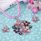 Multilayer leather Chiffon Ribbon Choker Neckalce Colorful Flower pendant Necklace Earrings Set - Abco... Store