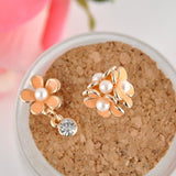 Pearl Sunflower Asymmetric Stud Earrings - Abco... Store