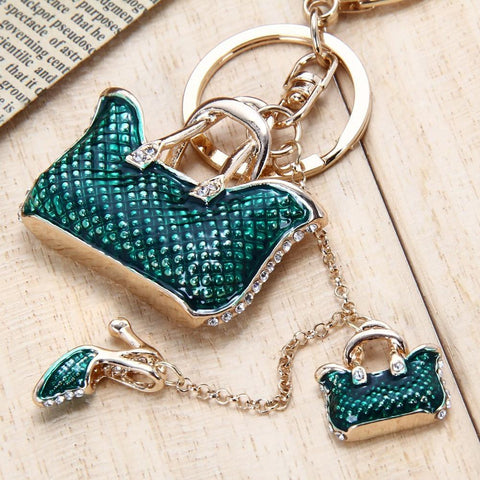 Charm Pendant Purse Bag Keychain Handbag High Heel Shoe Keyring Crystal - Abco... Store