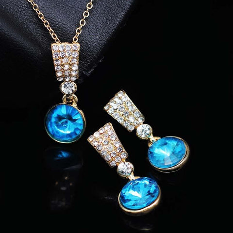 Austrian crystal Rhinestones Pendant Necklace Earrings Set - Abco... Store