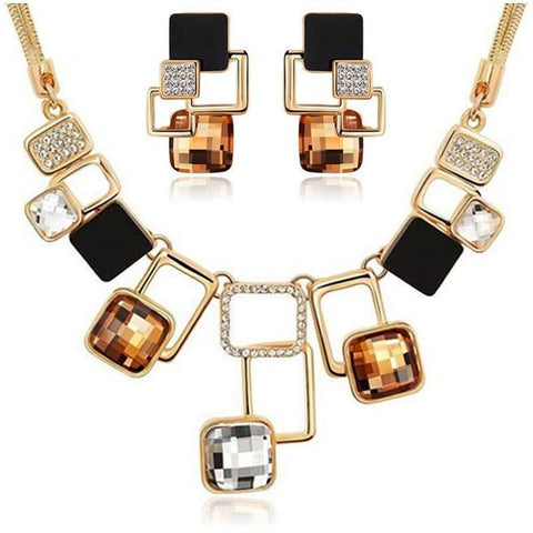 Gold Filled Rhinestone Crystal Acrylic Geometric Necklace Earring - Abco... Store