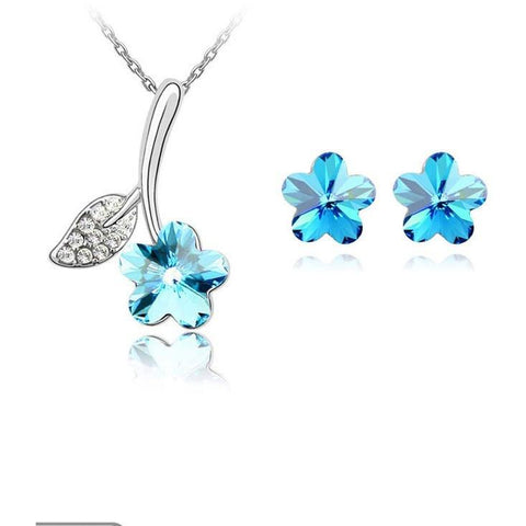 Flower Pendant Necklace Stud Earring(Small size) - Abco... Store