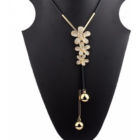 Three  Flowers Long Chain Necklace - Abco... Store