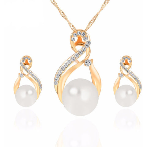 Silver Color Earrings Simulated Pearl Jewelry Set Women Necklace - Abco... Store
