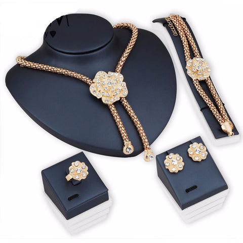Flower Choker  Crystal Statement Jewellery Set - Abco... Store